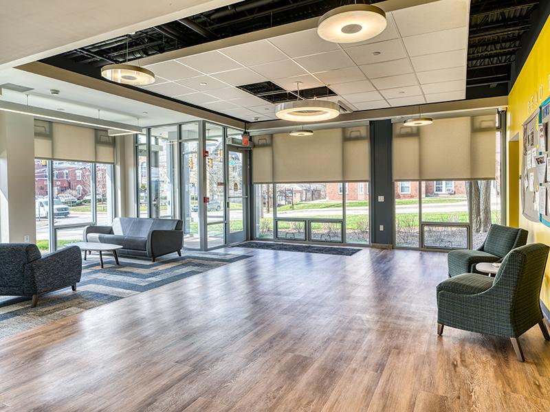 Interior lounge of Beau Hall at Washington & Jefferson College