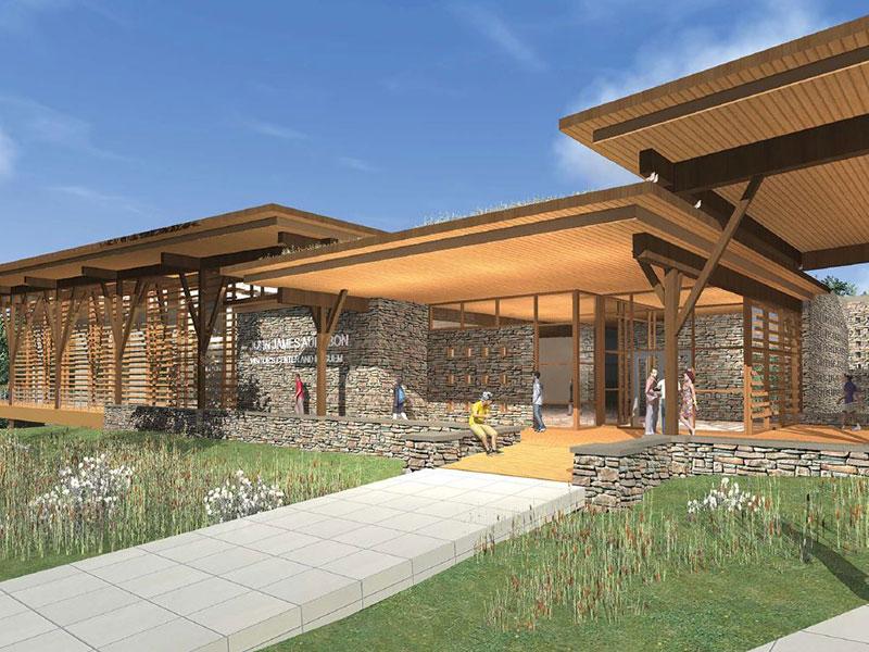 Exterior rendering of John James Audubon Center at Mill Grove