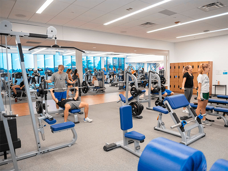 Students working out at Bowers Center at Elizabethtown College