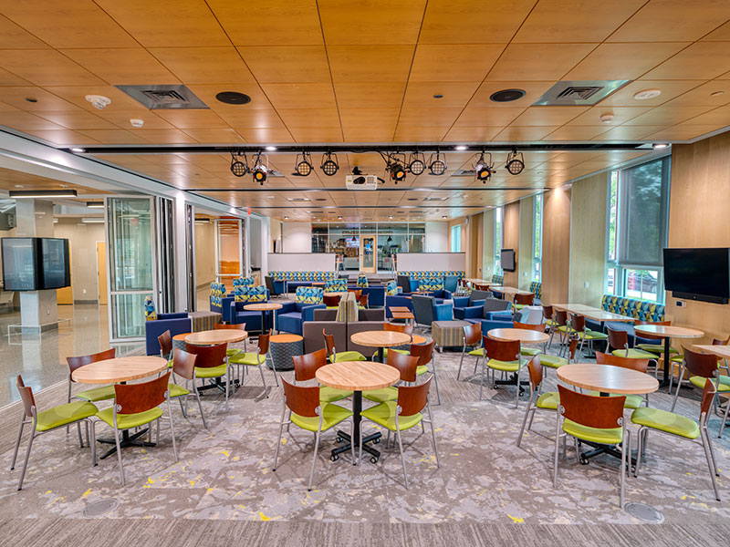 Seating area in the Janet Morgan Riggs Student Center at Gettysburg College