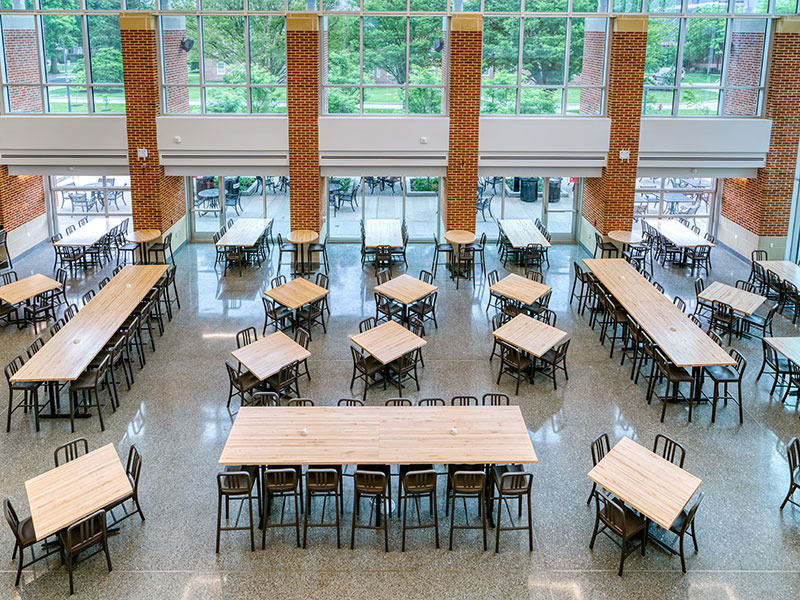 Open seating area in the Janet Morgan Riggs Student Center at Gettysburg College