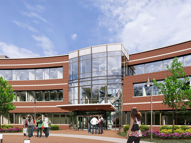 Exterior rendering of Phipps Admissions and Welcome Center at Messiah University