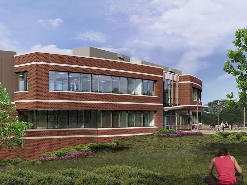 Alternate angle rendering of Phipps Admissions and Welcome Center at Messiah University
