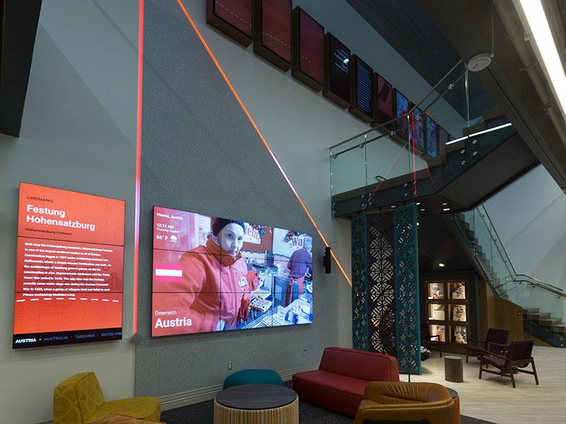 Digital signage and lighting at Posvar Hall for PittGlobal Hub