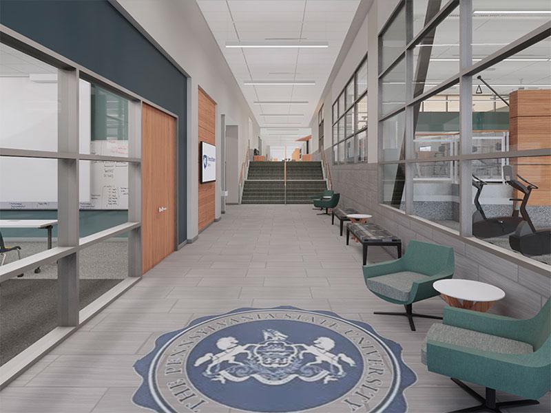 Interior rendering of the Beaver Community Center at Penn State Berks