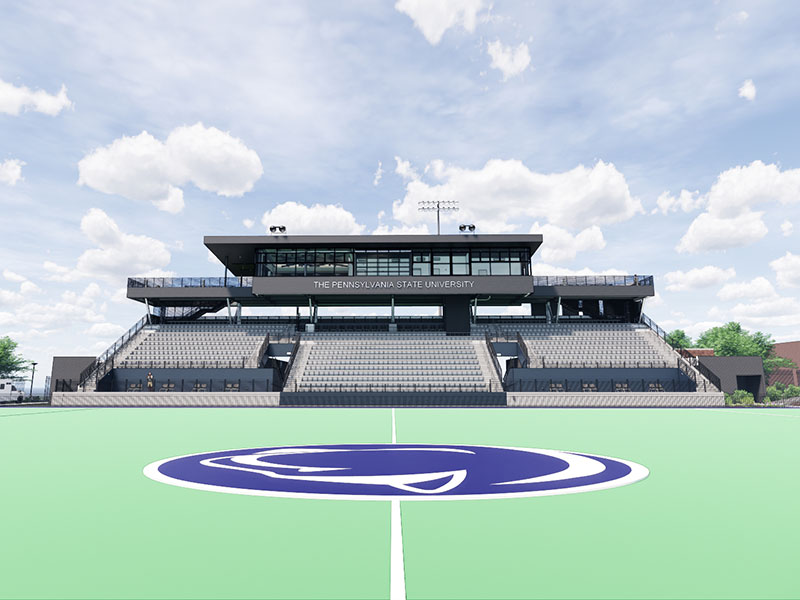 Rendering of the stands from the field of the Field Hockey Stadium at Penn State