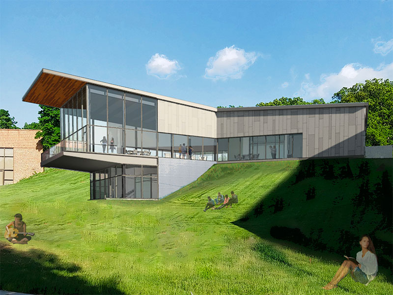 Exterior rendering of the back of the Graham Center for Innovation and Collaboration at Penn State York