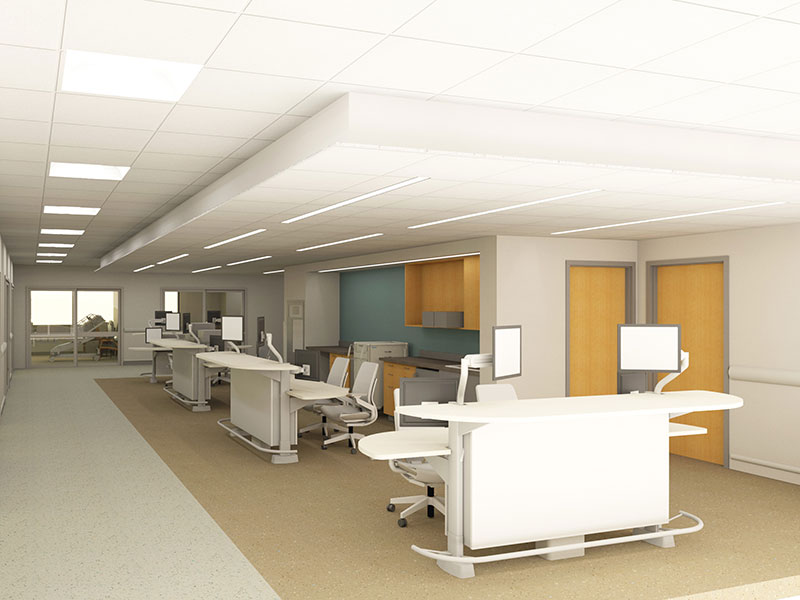 Nurse station at Surgical Anesthesia Intensive Care Unit at Penn State Health Milton S. Hershey Medical Center