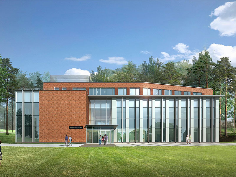 Exterior rendering of Allied Health Building at Penn State Mont Alto