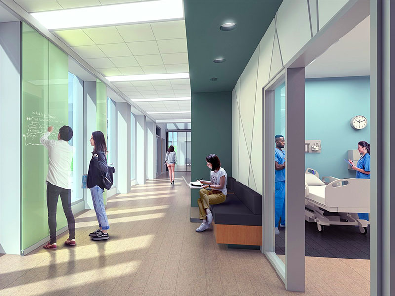 Interior rendering of Allied Health Building at Penn State Mont Alto