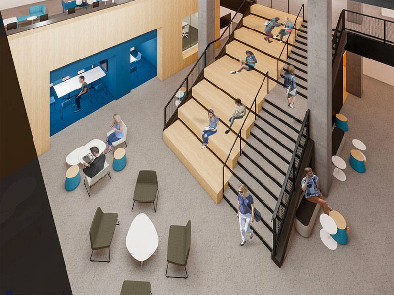 Interior overhead rendering of students in the Willard Building at Penn State University