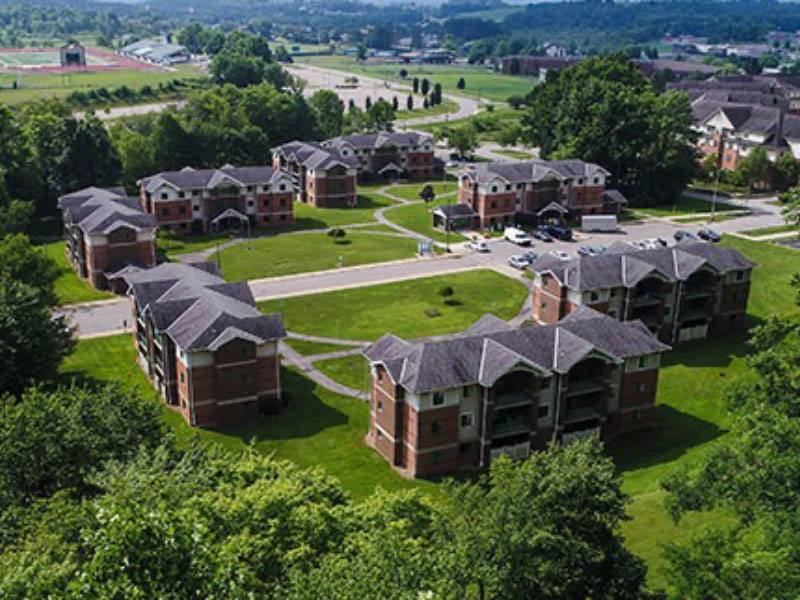 Arial view of North Hall and Rock Apartments
