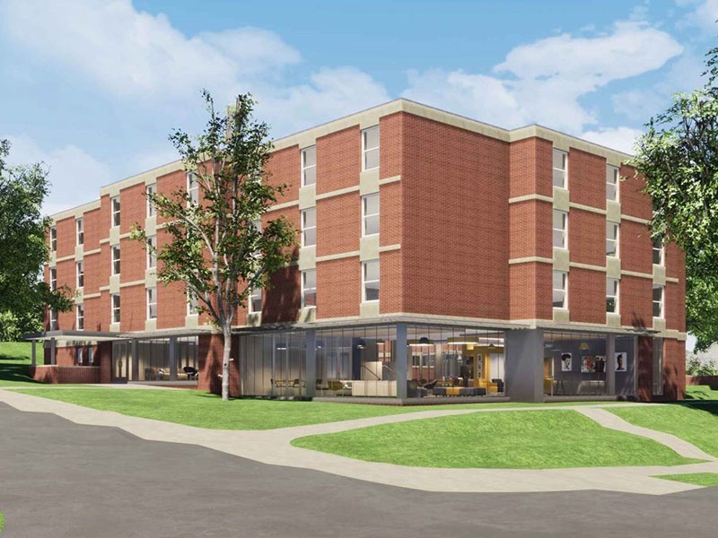 Exterior rendering of Beau Hall at Washington & Jefferson College