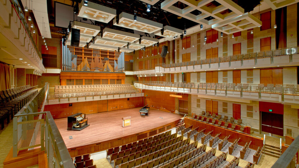 View of the stage from seats of the High Center at Messiah University
