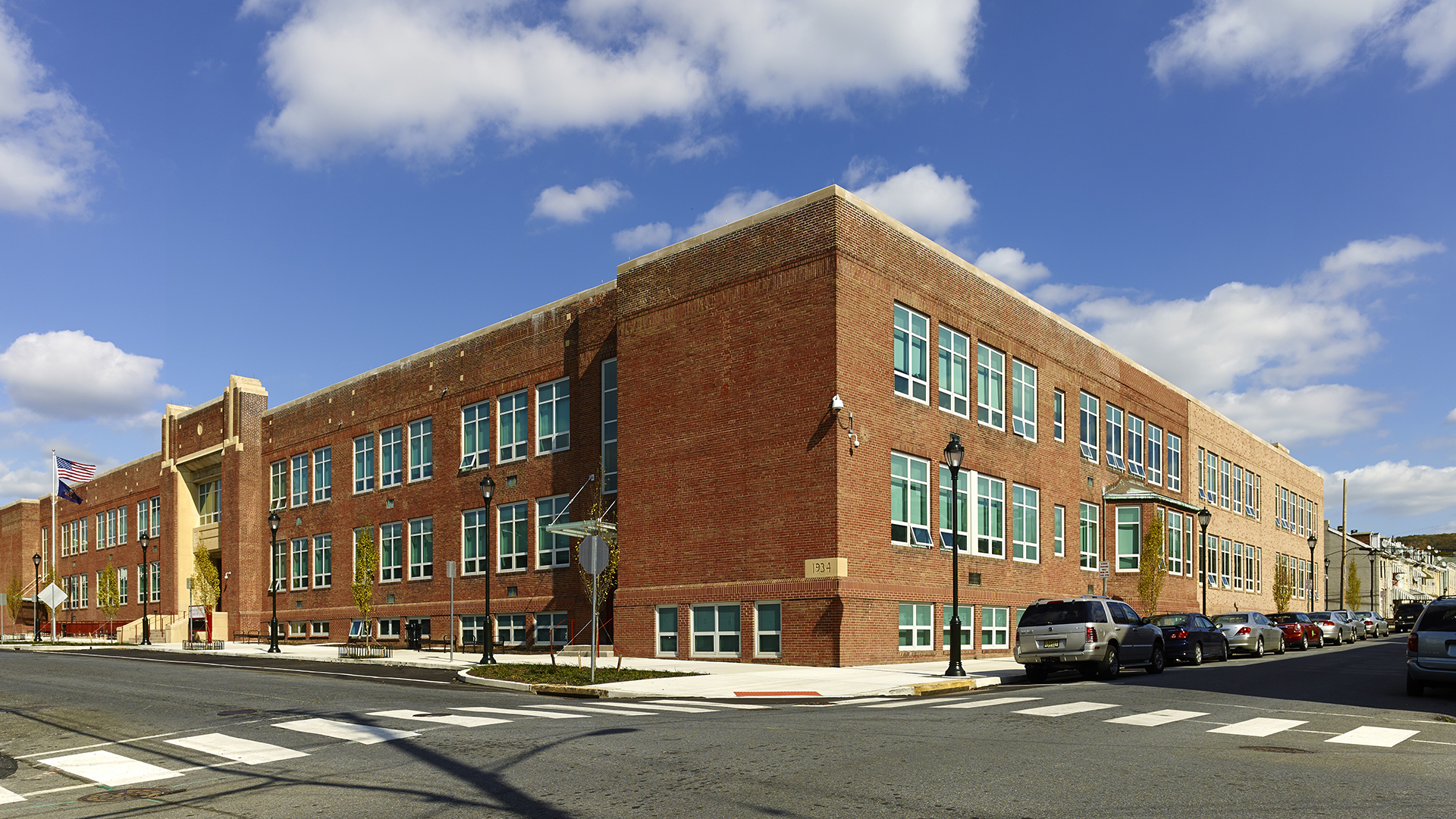 Exterior of Amanda E. Stout Elementary School and Benners Court for Reading School District
